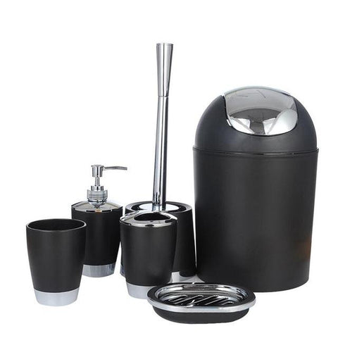 $41.60- New Style 6Pcs Bathroom Accessory Set Lotion Dispenser Toothbrush Holder Tumbler Cup Soap Dish Toilet Brush Trash Can
