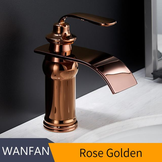 Basin Faucets Modern Style Bathroom Faucet Deck Mounted Waterfall Single Hole Mixer Taps Both Cold and Hot Water Crane 9273