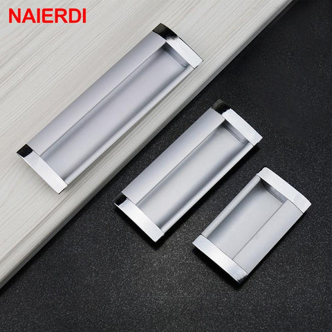 $11.38- 5PCS NAIERDI Aluminum Alloy Handles Modern Embed Knobs Kitchen Cabinet Cupboard Door Drawer Handle Wardrobe Hidden Pull Hardware
