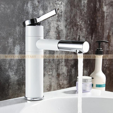 $79.18- Basin Faucets Brass Bathroom Faucet Vessel Sinks Mixer Vanity Tap Swivel Spout Deck Mounted White Color Washbasin Faucet LT701A
