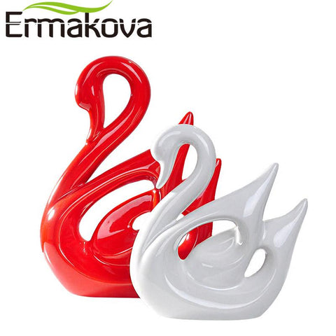 Ermakova 2 Pcs/Pair Ceramic Swan Couple Model Figurine Animal Home Ornaments Porcelain Sculpture Wedding Gift Living Room Decor