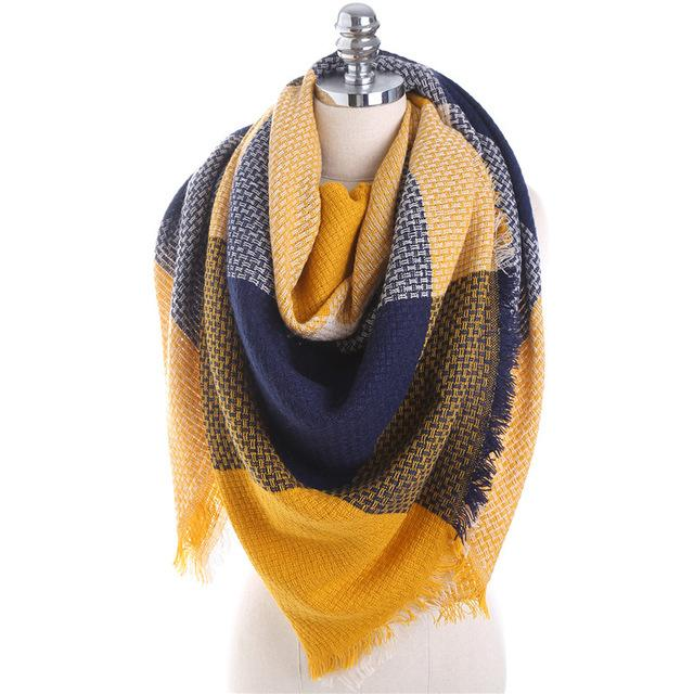 $22.22- Winter Luxury Brand Scarf For Women Stitching Plaid Cashmere Shawl Thick Warm Blanket Scarves Wraps Christmas Gift Dropship