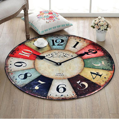 $44.82- Quality Coral Velvet Material Retro Number Clock Pattern 3D Vision Round Rug Computer Chair Rug Living Room Bedroom Rug