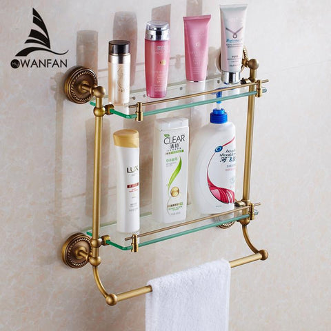 Bathroom Shelves 2Tier Glass Antique Brass Wall Shelf Bath Holder Towel Bar Hanger Shower Storage Accessories Towel Rack Hj1323