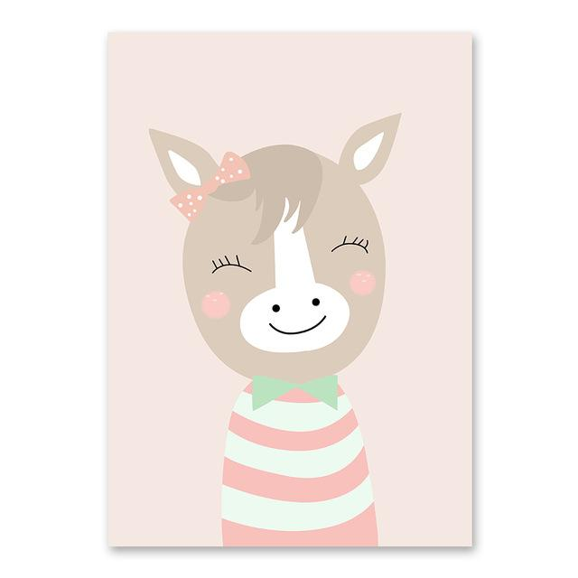 Buy Cartoon Animal Cute Deer Bear Nordic Dog Wall Art Posters Prints
