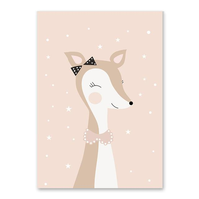 Cartoon Animal Cute Deer Bear Nordic Dog Wall Art Posters Prints Canvas Painting Home Decor Wall Picture For Baby Kids Room