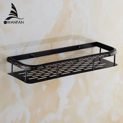 Bathroom Shelves Wall Brass Kitchen Rectangle Shelf Shower Caddy Storage Single Tier Shampoo Basket Holder Accessories Fe8623