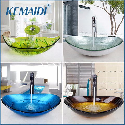 KEMAIDI US Waterfall Spout Basin Black TapBathroom Sink Washbasin Tempered Glass HandPainted Bath Brass Set Faucet Mixer Taps