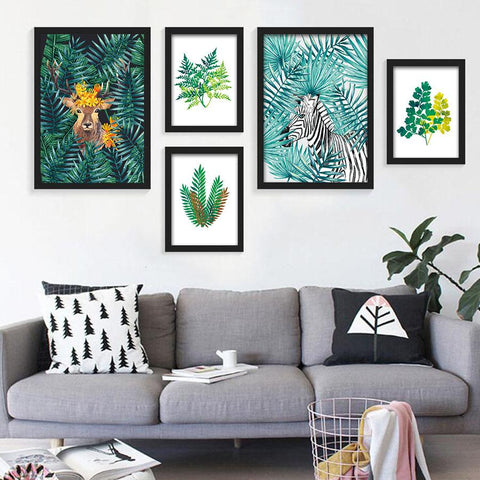 $5.17- Nordic Style Watercolor Plant Tropical Leaf Flower Cactus Canvas Printing Wall Art Poster Wall Pictures Living Room Home Decor