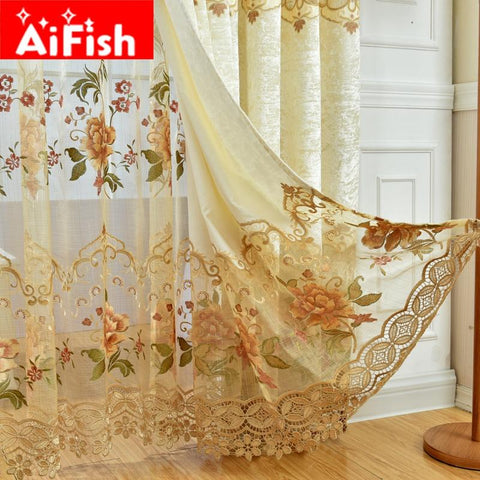 $31.39- Europe Window Treatments WaterSoluble Hollow Embroidered Luxury Voile Curtains For Living Room Lace Curtains Tulle Ap32130