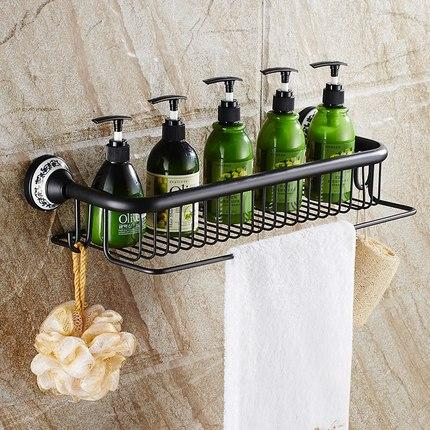 $108.21- European Style Black Bathroom Kitchen Shelf Basket Wall Mounted Brass Bath Commodity Holder Towel Bar W/ Hooks