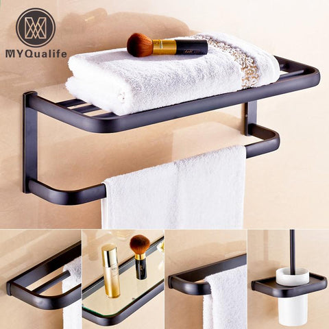 $327.36- Oil Rubbed Bronze Black Bathroom Accessory Wall Mounted Toilet /Toothbrush Holder Towel Rack Bar Storage Shelf