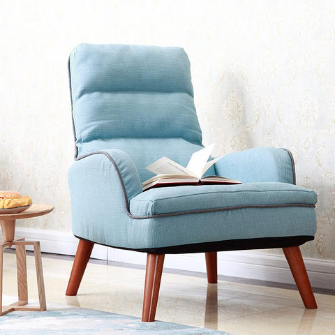 Japanese Low Chair Upholstery Fabric Seat Living Room Furniture Legs Wood Occasional Modern Accent Chairs W/ Double Armchair