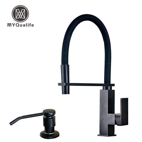 Oil Rubbed Bronze Square Kitchen Faucet W/ Bracket Bar Deck Mounted One Hole Hot Cold Mixer Taps Soap Dispenser