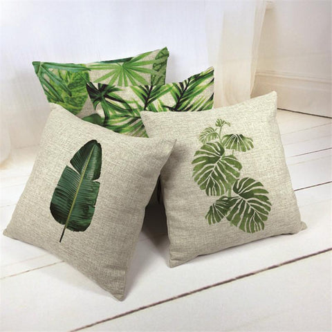 $6.82- Own Photo Nordic Tropical Style Banana Leaf Cushion Cover Cartoon Bedroom 17.7Inch Linen Seat Home Decorative Lumbar Pillowcase