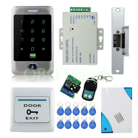 Full Waterproof Access Control System Kit Set W/ Electric Strike Lockremote Controldoor Bellpowerexittouch Screen Keypad
