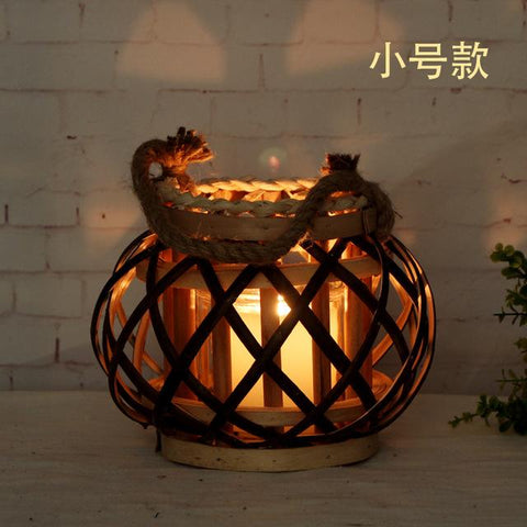 Classic Candle Holder Lanterns The Hemp Rope Wicker Lanterns Pure Manual Weaving Candle Stick Festival Decoration Candle Holder