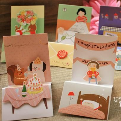 $17.14- Collection Of Wind Exquisite Small Cards Threedimensional Thanksgiving Birthday Greetings Thank You Card Mini Christmas Cards