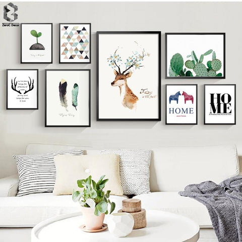 $10.64- Nordic Scandinavian Art Prints Watercolor Animal Poster Cactus Wall Picture Quote Canvas Painting Kids Room Home Decor