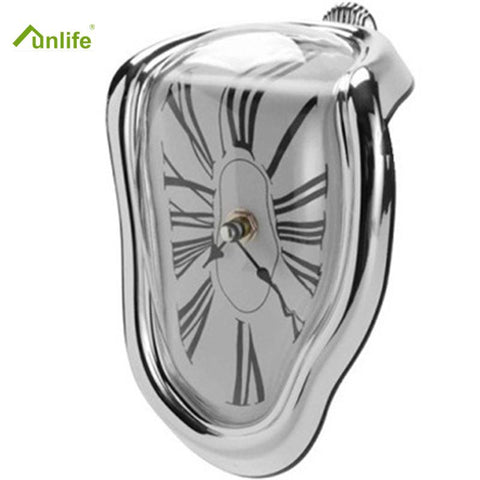 FunlifeTm 3 Colors 18 X 12Cm 7.1*4.7In Fashion Art 90 Degree Distortion Dali Wall Clock For Home Decoration