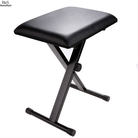 $35.41- Homdox Folding Chair Adjustable Piano Keyboard Bench Leather Padded Seat Rubber Feet Folding Stool Chair N30*