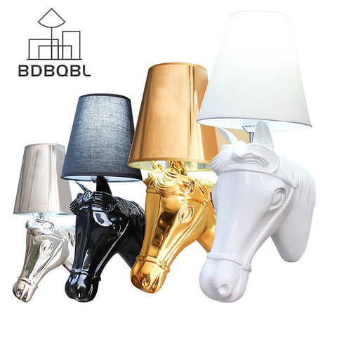 $101.07- Bdbqbl Modern Nordic Style Horse Head Wall Lamps Sconces Light Living Room Loft Wall Light Fixtures White/Black/Silver/Gold