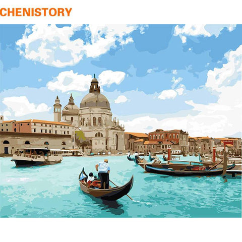 $16.48- Chenistory Frameless Venice Diy Painting By Numbers Landscape Painting & Calligraphy Modern Wall Art Picture Home Decor 40X50Cm