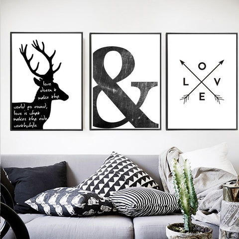$10.62- Abstract Minimalist Symbol Canvas Painting Black White Nordic Scandinavian Wall Art Picture Poster Print Living Room Home Decor