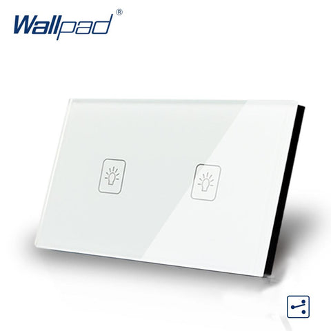 $32.41- 2 Gang 2 Way 3 Way White Au Us Standard 118*72Mm Wallpad Crystal Double Control Light Wall Switch Touch Switch