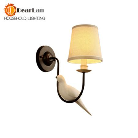 $57.58- Nordic Iron Vintage American Wall Lamp Led Bedside Lamp Wall Light Birdie Pastoral Personality Resin Bird Dropping Lightsbv50