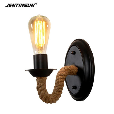 $40.30- Nordic Industrial Retro Loft LED Hemp Rope Wall Lamp Metal Indoor Lighting Home Fixtures Sconce Light for Aisle Bedroom Bedside