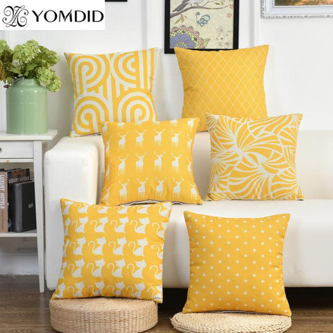 $6.88- Nordic Style Yellow Cushion Cover Dot Rhombus Animal Printed Throw Pillowcase Waist Pillow Cover Home Sofa Car Decor Cat Pattern
