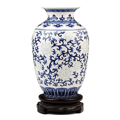 Jingdezhen RicePattern Porcelain Chinese Vase Antique BlueWhite Bone China Decorated Ceramic Vase