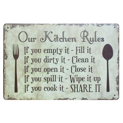 $9.27- Our Kitchen Rules Shabby Chic Metal Signs Bar Pub Restaurant Home Decor Art Wall Stickers Vintage Metal Painting Plaque N090