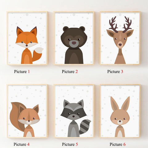 $6.29- Nordic Art Forest Animal Squirrel Deer Bear Poster Minimalist Canvas Painting Nursery Picture Print Children Room Decoration