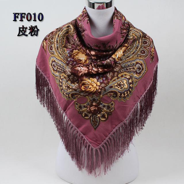 $14.00- New Fashion Ladies Big Square Scarf Print Scarf Russian Ethnic Style Women Wraps Winter Scarves FF010