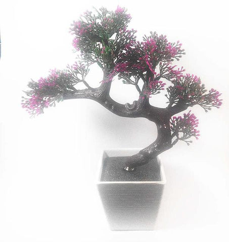 $17.38- Artificial Bonsai Tree Welcoming Plant Fake Flower Green Plant Simulation Pine Trees Flower Pot Vase Wedding Home Decoration