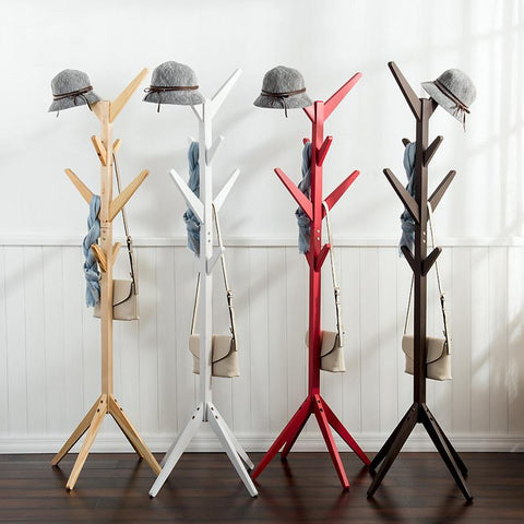 $108.84- 8 Hooks Fashion Furniture Solid Wood Living Room Coat Rack Display Stands Hanging Scarves Hats Bags Clothes Shelf