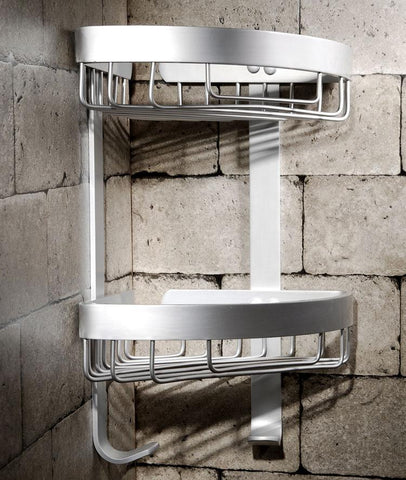 $45.54- Bathroom Shelves Dual Tier Holder Metal Wall Mount Shower Corner Shelf Towel Hook Storage Bathroom Accessories Toilet Rack 2525