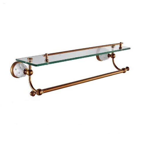 Bathroom Shelves Solid Brass Golden Shower Wall Holder Shampoo Storage Rack Bath Accessories Single Tempered Glass Shelf 5213