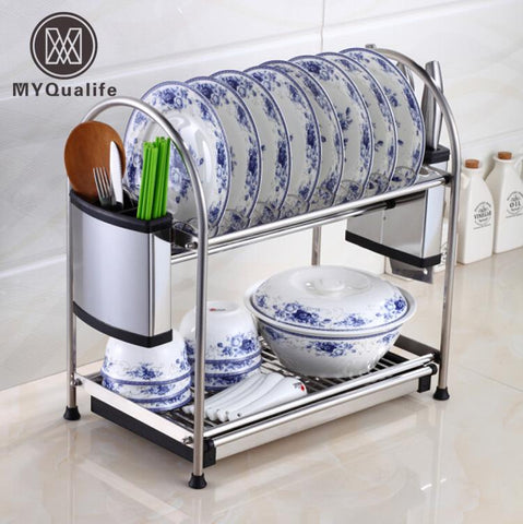 MultiFunctions Double Layer Desktop Kitchen Storage Rack Kitchen Tools Holder Dish Rack Stainless Steel