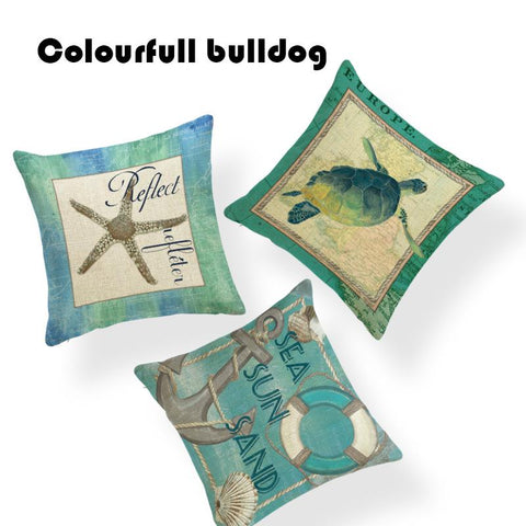 $6.82- Customized Handmade Vintage Shabby Chic Wood Sea Turtle Cushion Cover Nautical 17.7Inch Linen Printed Home Decor Summer Almofada