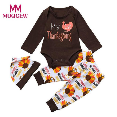 $17.63- Thanksgiving Day Turkey Pattern Newborn Infant Baby Clothes Sets For Kids Girl Boy Letter Romper Topspants Outfits Set
