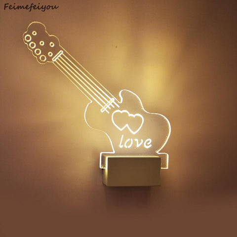 $56.08- Feimefeiyou Guitar Shape Led Wall Light Bedside Lamp Modern Living Room Corridor Hallway Stairs Pathway Wall Sconce Lighting