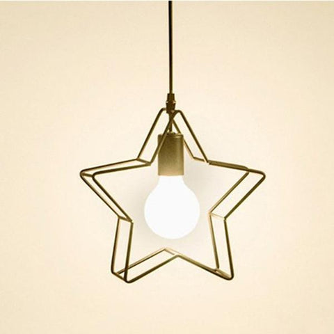 $31.45- Vintage E27 Nordic Fashion Iron Meal Pendant Lamp Personalized Creative Star Pendant Light For Restaurant Coffee Bar Bedroom