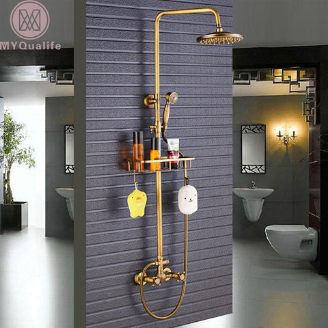 $182.33- Antique Brass Shower Faucet Mixers Dual Handle Rainfall 8 Brass Shower Head W/ Bath Storage Shelf Hooks Shower Water Tap
