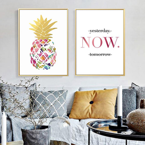 $10.76- Modern Yellow Gold Pineapple Today Quotes Canvas Paintings Wall Art Nordic Posters Pictures For Office Living Room Home Decor