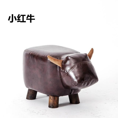 $135.98- Special Offer Real Chinese Porcelain Pouf Poire Cattle Stool Children Shoes Bench Animal Cow Bag Wooden Modern