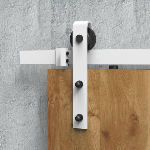 Diyhd 183Cm/195Cm/244Cm White Coated Rustic Sliding Barn Door Hardware Wood Interior Sliding Track Kit