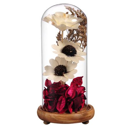 $23.51- Crystal Seal Vase Dried Flowers Terrarium Home Decor Glass Terrariums Plant W/ Bamboo Bottom Micro Landscape Cover Filler